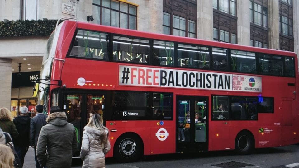 """The """"Free Balochistan"""" posters appeared on London's buses in November."""