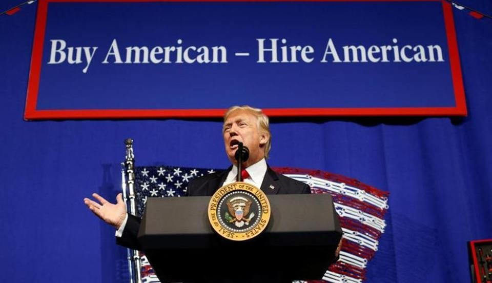 US President Donald Trump speaks before signing an executive order directing federal agencies to recommend changes to H1-B visa program in Wisconsin in April.
