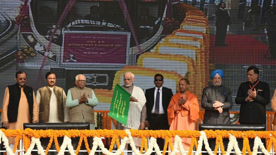 Prime Minister Narendra Modi, flanked by Uttar Pradesh governor Ram Naik and chief minister Yogi Adityanath, inaugurated Delhi Metro's Magenta Line on Sunday.