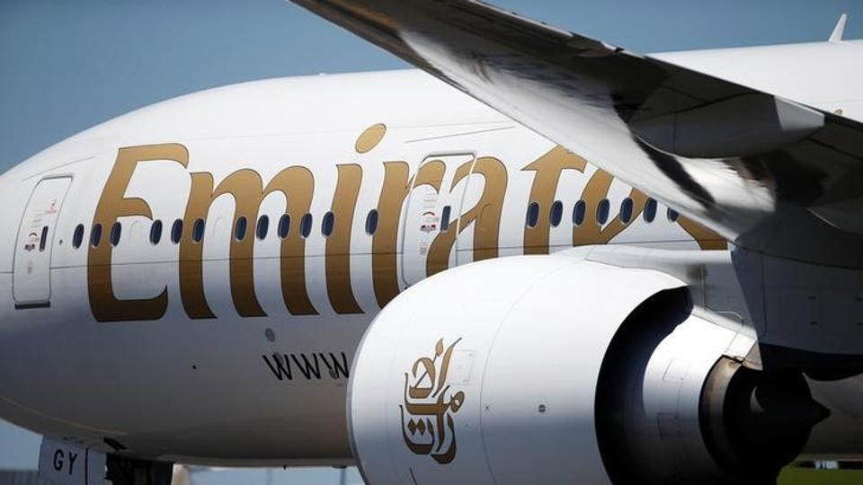 An Emirates plane is seen at Lisbon's airport, Portugal. Emirates said it would stop its Dubai-Tunis connection from Monday following instructions from Tunisia.