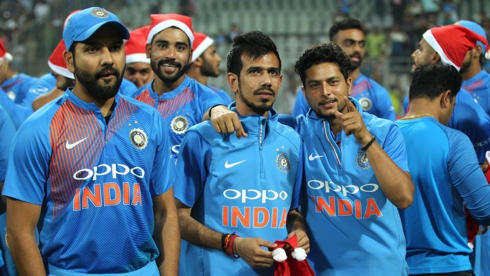 (L to R) Rohit Sharma, Yuzvendra Chahal and Kuldeep Yadav shares a light moment after the match. (BCCI)