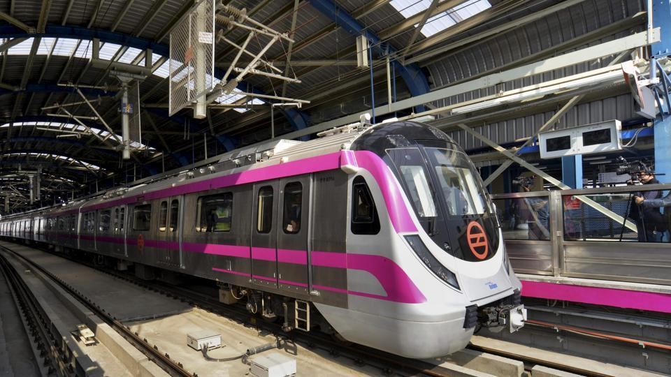 A 'driverless' train parked at a station on Delhi metro's Magenta Line during a trial run on Botanical Garden-Kalkaji Mandir section in New Delhi.