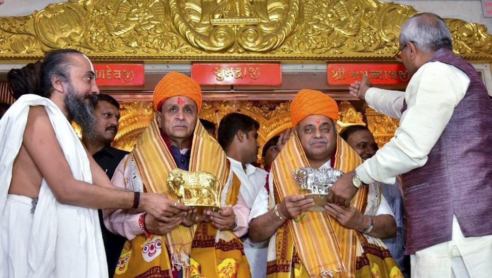 Gujarat chief minister Vijay Rupani and deputy chief minister Nitinbhai Patel at Lord Jagannath Temple in Ahmedabad.