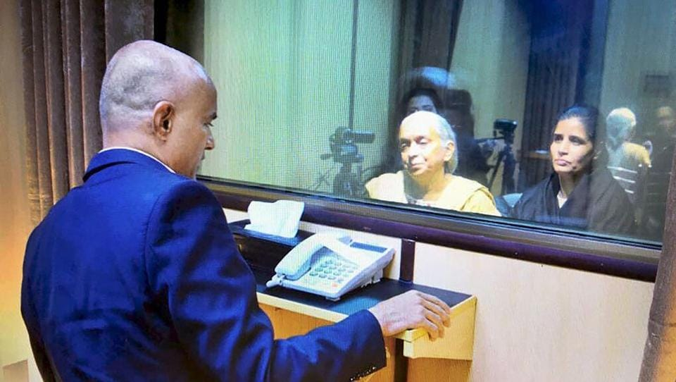Former Indian Navy officer Kulbhushan Jadhav's wife and mother meet him in Islamabad on Monday. PTI