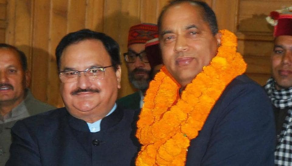 Union health minister and BJP's central observer JP Nadda congratulates Jai Ram Thakur after he was chosen as the BJP's Legislature party leader  in Shimla on Sunday.