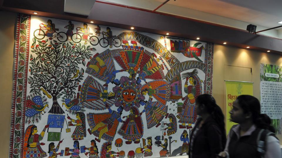 Madhubani paintings at the Bihar pavilion, India International Trade Fair , 2013
