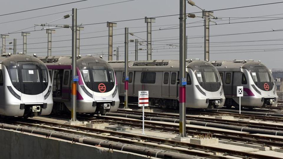 Delhi Metro trains parked at the DMRC's one and half kilometer elevated train stabling yard at Jasola Vihar in New Delhi.