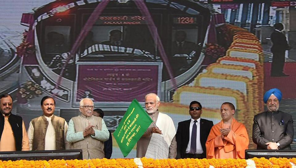 Prime Minister Narendra Modi flags off Metro's Magenta Line in Noida on Monday.