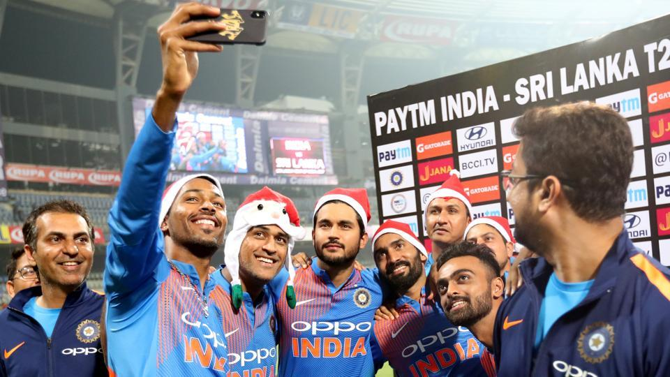 The players were in festive mood after the game as they celebrated by donning Santa Claus hats. (BCCI)