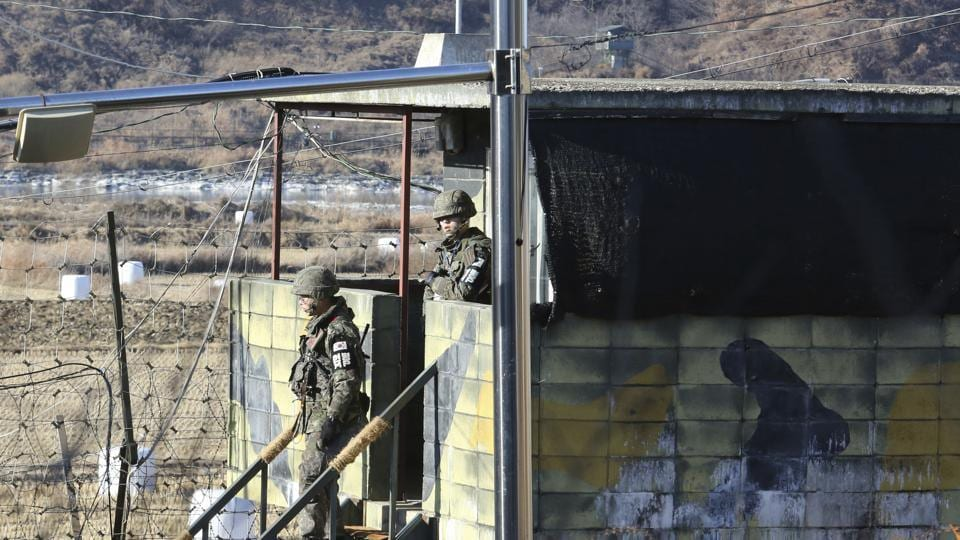South Korean army soldiers step down from a military guard post in Paju, South Korea, near the border with North Korea . North Korea on Sunday called the latest UN sanctions to target the country