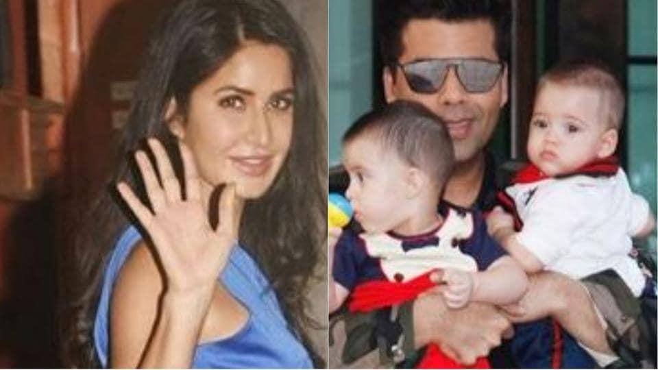 Katrina Kaif and Karan Johar with his twins Yash and Roohi at Arpita Khan's Christmas bash.