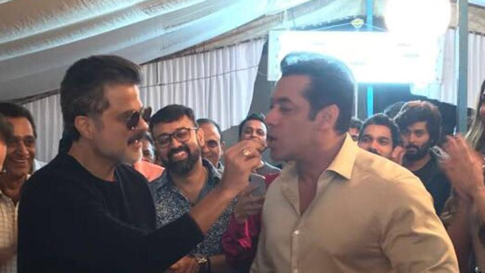 Anil Kapoor celebrates his birthday with Salman Khan on the sets of Race 3.
