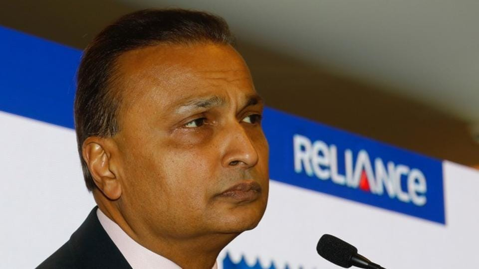 Anil Ambani, chairman of Reliance Communication, addresses a news conference at the company's headquarters in Mumbai.