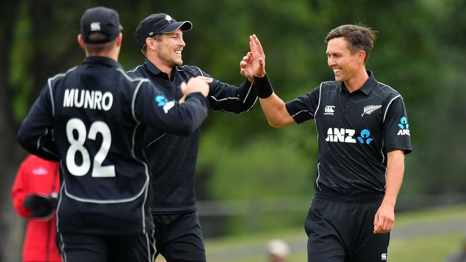 New Zealand's Trent Boult (R) picked three wickets and was also named Man of the Series. The hosts swept the series 3-0 against the West Indies.