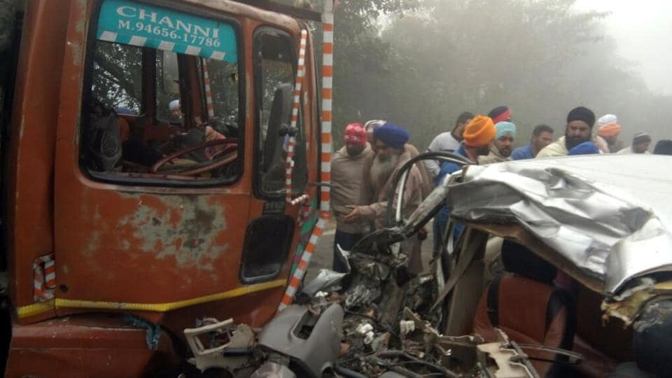 Police and locals at the accident spot on Patiala-Cheeka road on Tuesday.