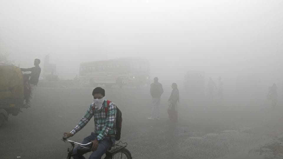A thick blanket of smog on the outskirts of New Delhi in November.