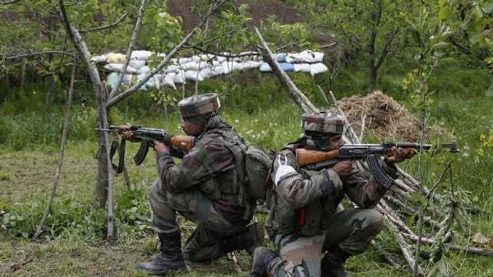 File photo of army soldiers during a search operation in Kashmir.