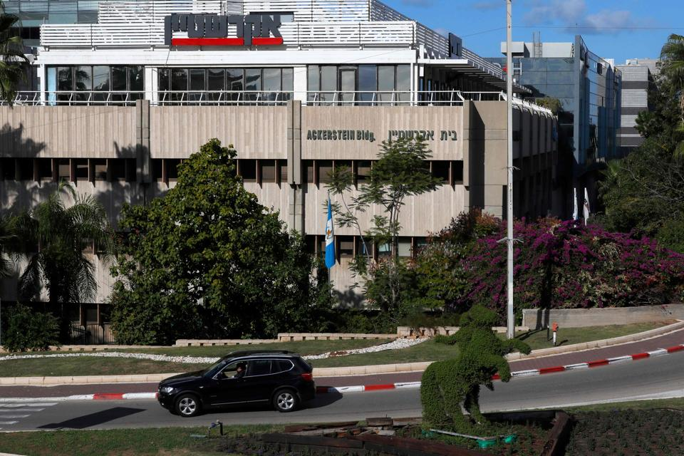 The Guatemalan flag hangs outside the building housing the offices of the country, in the Israeli city of Herzliya, near Tel Aviv.