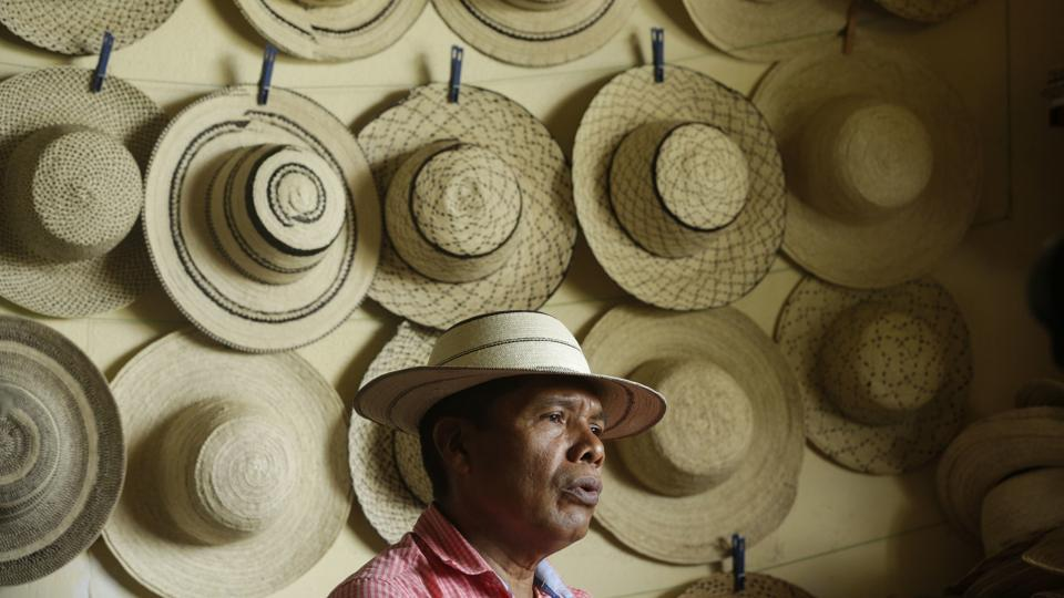 Artisan and desiger Reinaldo Quiros talks about the traditional Panamanian pintao hat, in La Pintada, Panama. Cultural authorities at UNESCO have recognized the artisans of Panama for their distinctive woven hats called the Pintao. (Arnulfo Franco / AP)