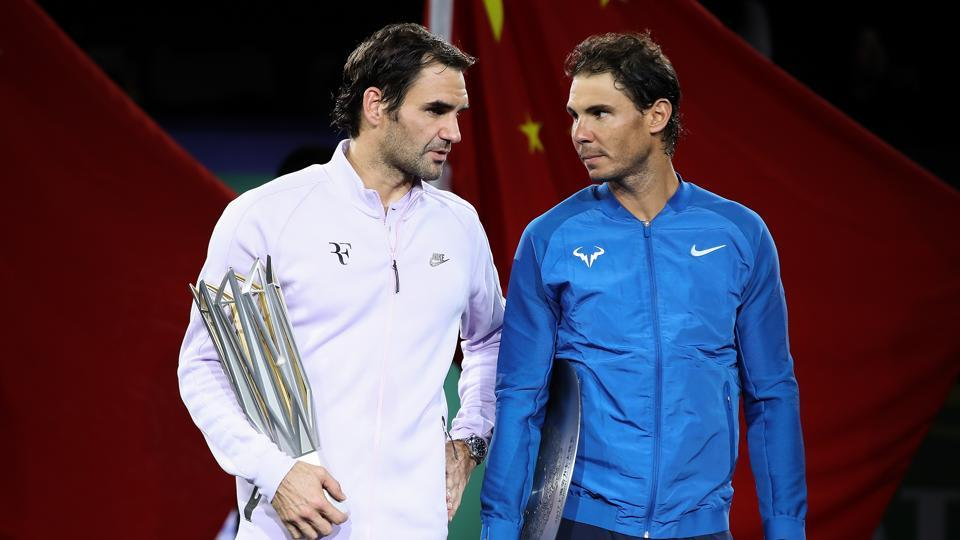Roger Federer (L) and Rafael Nadal won two grand slam titles each as they turned back the clock in 2017.