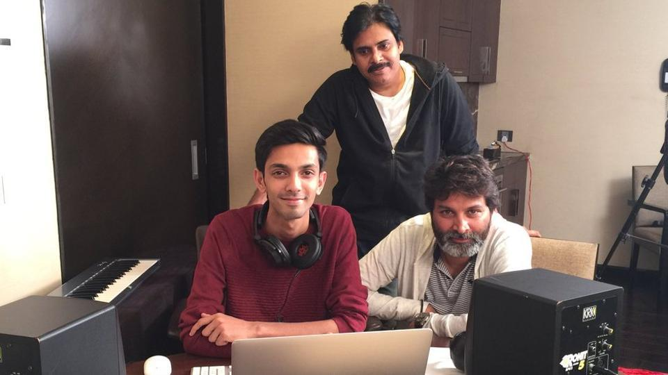 Pawan Kalyan records for the special song in Agnyaathavaasi with Anirudh Ravichander and director Trivikram .