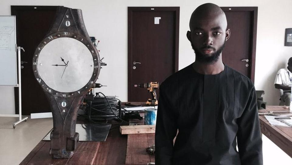 The Sankofa Grandfather Clock has been made from repurposed scrap from 'the world's largest e-waste dump'.