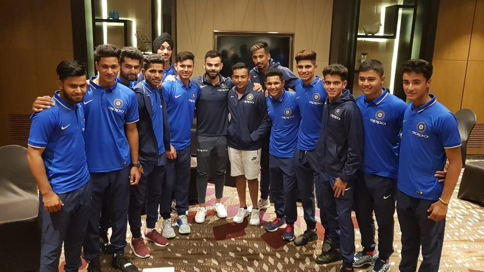 Image result for virat kohli met under 19 world cup team