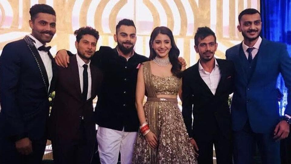 Some of India's most famous sportspersons were in attendance at the wedding reception of Virat Kohli and Anushka Sharma in Mumbai on Tuesday. (Twitter / Akshar Patel)
