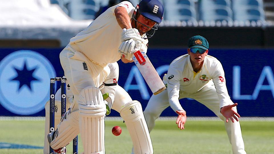 Australia's captain Steve Smith watches England's Alastair Cook hit a shot during the second day of the fourth Ashes cricket Test match at Melbourne on Wednesday. Cook scored his 32nd Test century at the MCG. Get full cricket score of Australia vs England, fourth Ashes Test here.