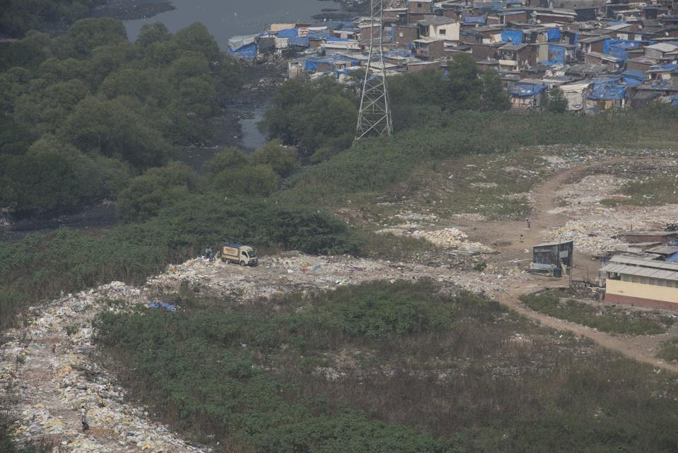 Mangroves burnt and debris dumped near Bhagat Singh Slums in Oshiwara.