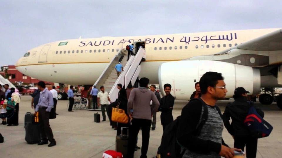 Passengers being evacuated at Amausi airport.