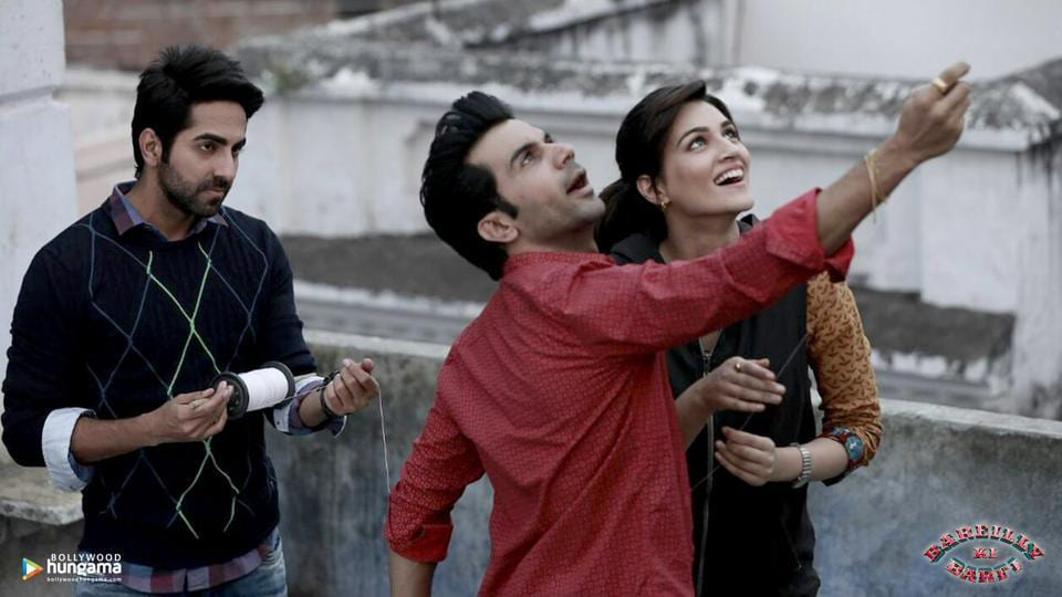 Actors Ayushmann Khurrana, Rajkummar Rao and Kriti Sanon in a still from Bareilly Ki Barfi.