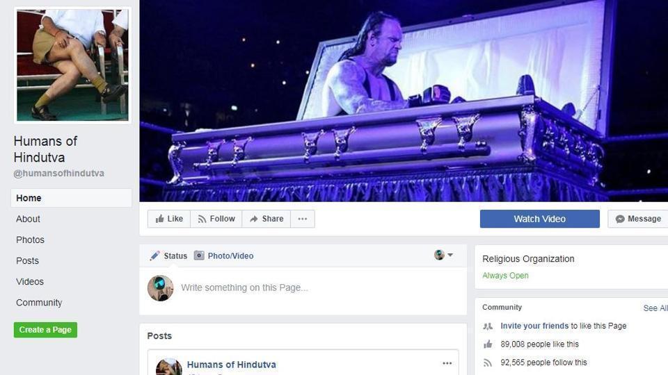 A screenshot of Humans of Hindutva Facebook page.