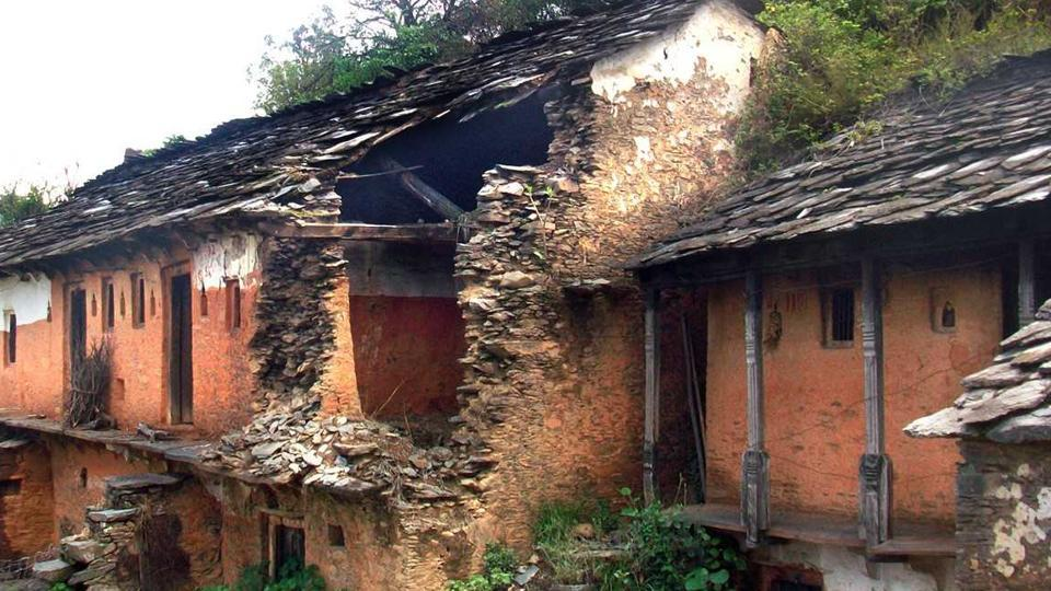 A dilapidated house in Uttarakhand's Pauri Garhwal district.