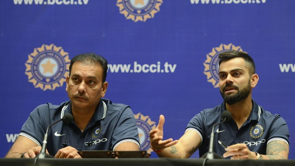 Indian cricket team captain Virat Kohli (R) and coach Ravi Shastri addressed the press before leaving for South Africa on Wednesday evening in Mumbai. (AFP)