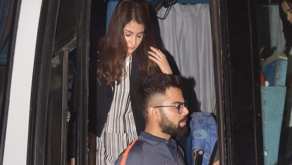 Captain Virat Kohli, along with wife Anushka Sharma, and the Indian cricket team left for the South Africa series from Mumbai  late on Wednesday. (PTI)