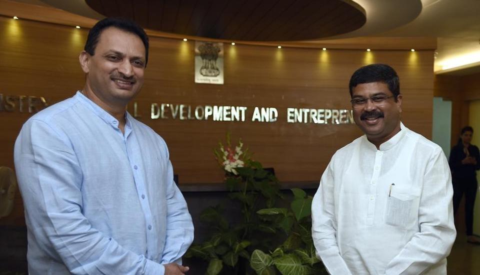 Minister of skill development and entrepreneurship Dharmendra Pradhan and minister of state skill development and entrepreneurship Anant Kumar Hegde in New Delhi, September 4, 2017