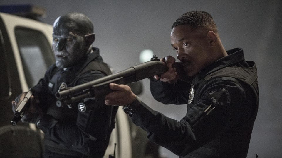 This image released by Netflix shows Will Smith, right, and Joel Edgerton in a scene from, Bright.