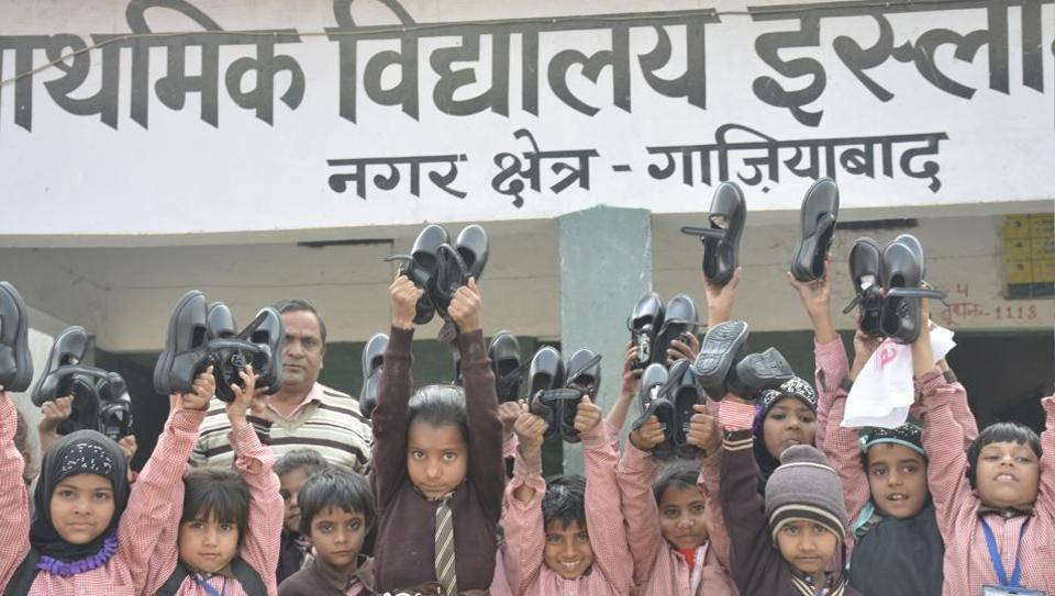 Distribution of shoes has started in government schools.