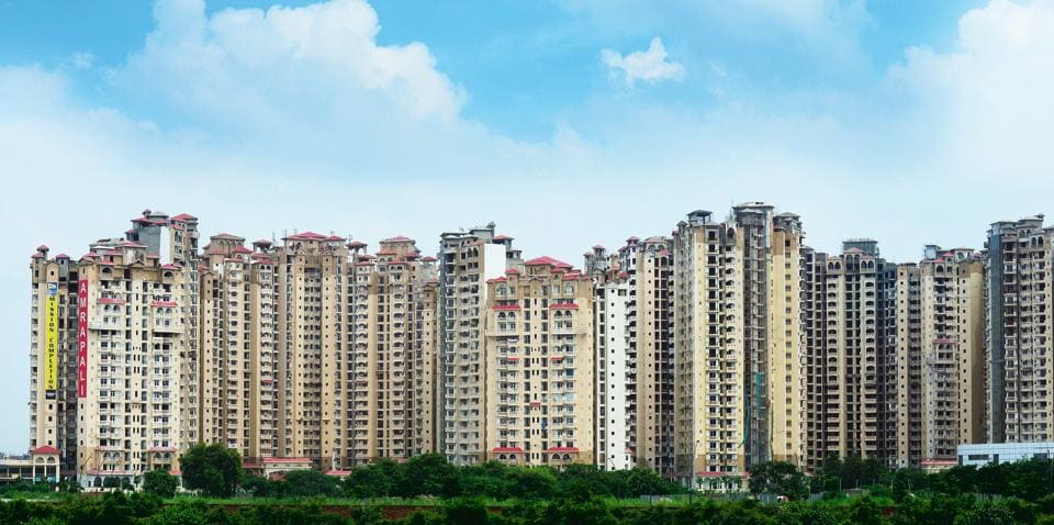 High rise residential apartments in Noida Extension .