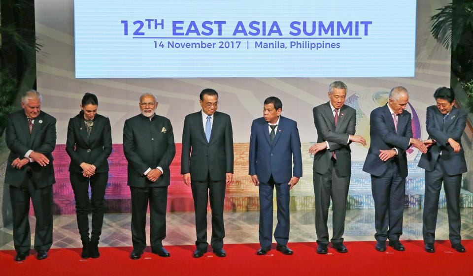 Leaders from the Asean and their dialogue partners pose for a group photo session at the 31st ASEAN Summit in November 2017 in Manila, Philippines.