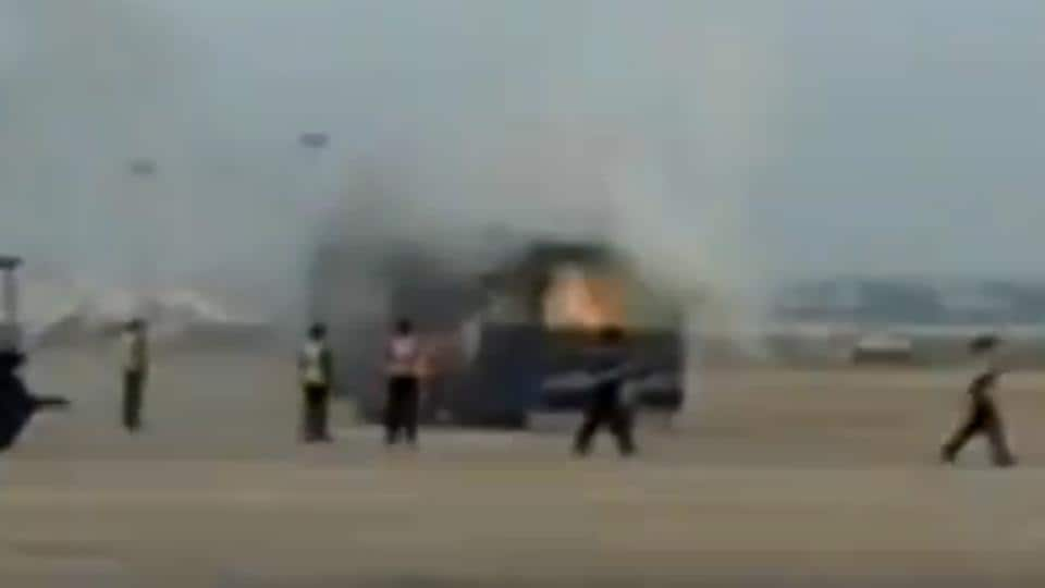 A spark in the engine resulted in the fire that was immediately put out by fire service personnel.