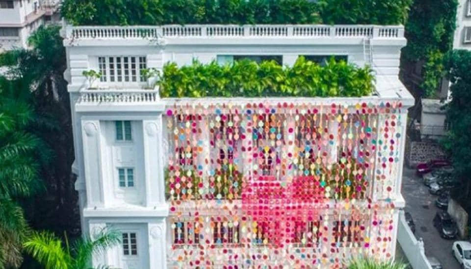 Designer and artist Manish Arora embellished Mumbai's Jindal mansion with yards of cloth, hand embroidered and printed, as a symbol of love and peace.