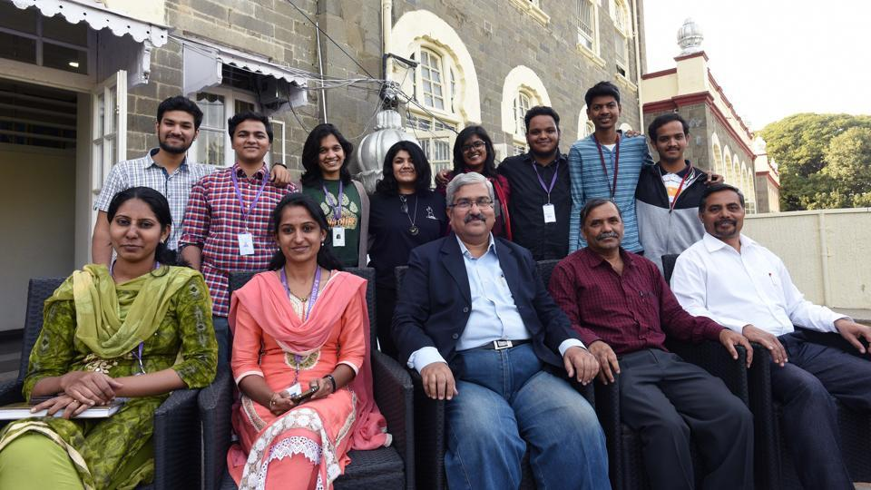 The team and faculty of Sir Parashurambhau College that won first prize in 'Green College, Clean College' competition in Kirloskar Vasundhra International Film Festival.