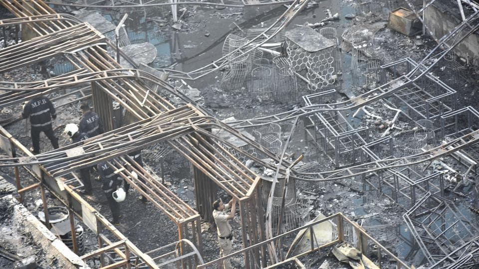 A view of the charred building in which a fire broke out in Mumbai on early Friday.