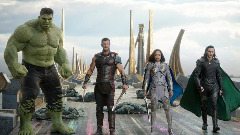 This image released by Marvel Studios shows the Hulk, from left, Chris Hemsworth as Thor, Tessa Thompson as Valkyrie and Tom Hiddleston as Loki in a scene from, Thor: Ragnarok.