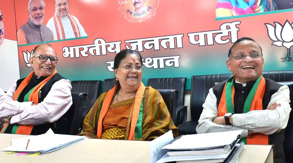 Chief minister Vasundhara Raje (centre) along with BJP state president Ashok Parnami  (left) and state in-charge V Satish (right) at a meeting in Jaipur on Friday.