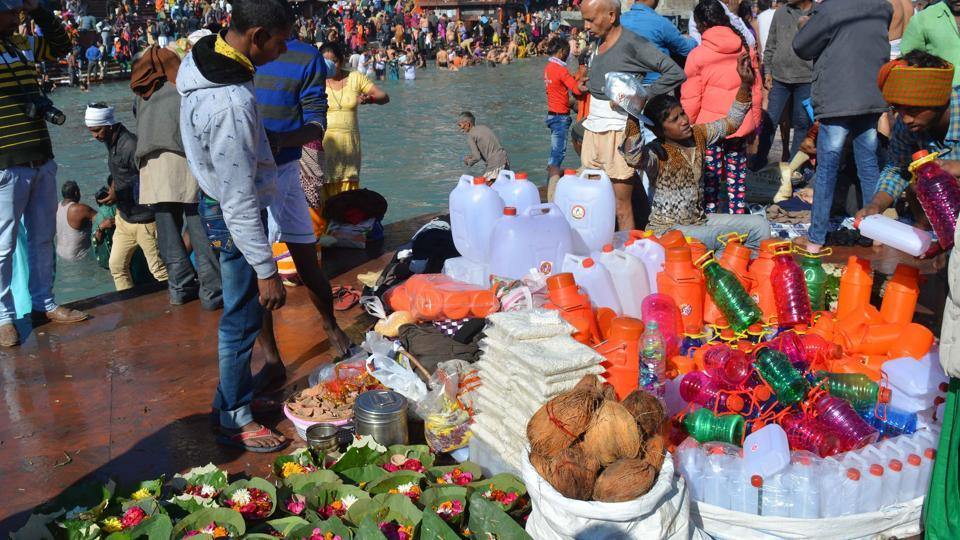 Plastic cans being sold in Haridwar.