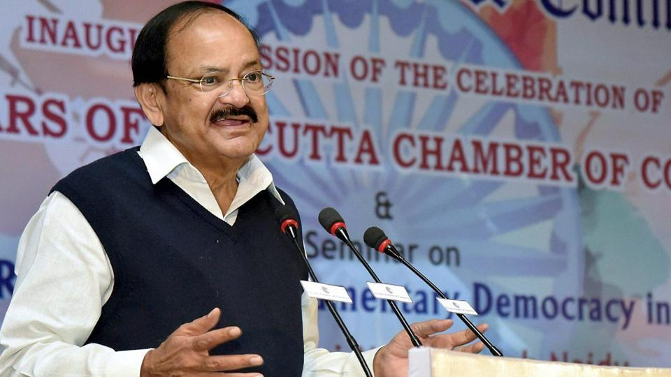 Vice President M. Venkaiah Naidu addresses the gathering at the 187th-anniversary celebrations of Kolkata Chamber of Commerce, in Kolkata on Saturday.