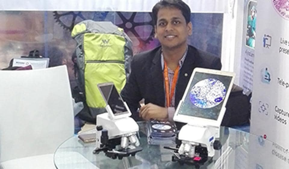 Samrat, one of the four team members who worked on Cilika, a portable microscope that lets you take high-res images with an attached smart device.
